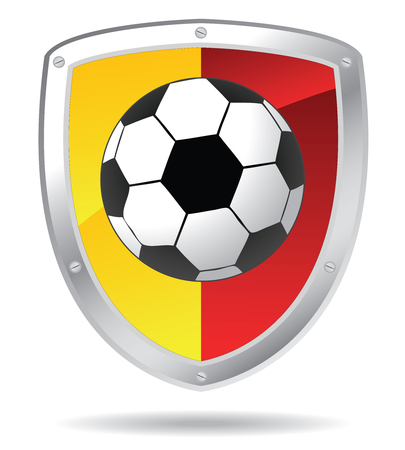 soccer shield in red and yellow colors Vector