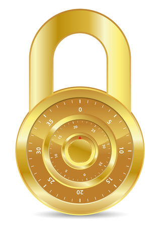 combination: gold combination padlock for safety zone Illustration