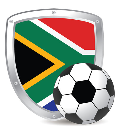 south african flag: South Africa Shield with Scoccer ball for 2010 Illustration