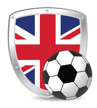 bandera de reino unido: Escudo con bola de bandera y el f�tbol de UK