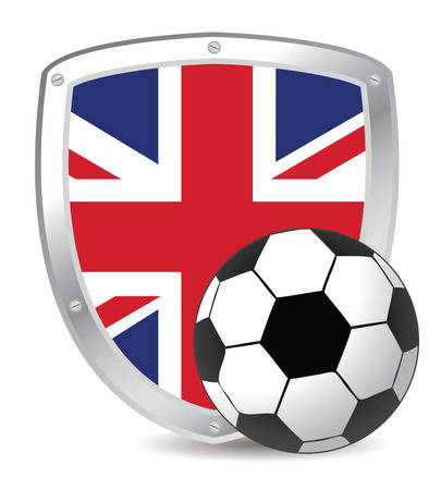 shield with UK flag and soccer ball Vector