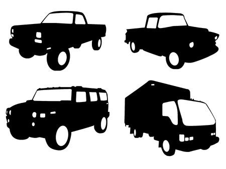 camioneta pick up: conjunto de cuatro siluetas de cami�n en blanco y negro  Vectores