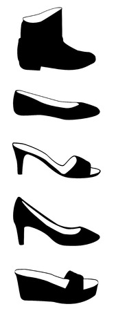 high: set of woman shoes in silhouette