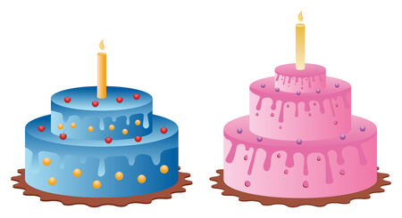 set of two birthday cakes from celebration Vector