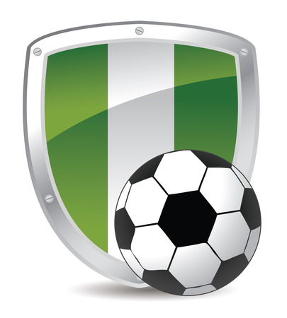 nigeria shield and soccer ball Vector