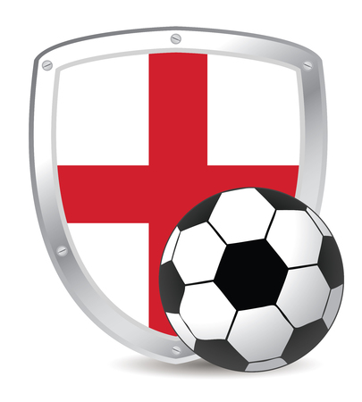 soccer field: england shield soccer red cross and white