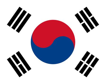 south east asia: bandiera della Corea con i colori rossi, blu e bianchi  Vettoriali