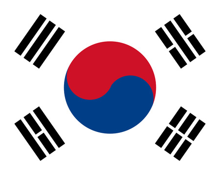 korea flag with red, blue and white colors 矢量图像