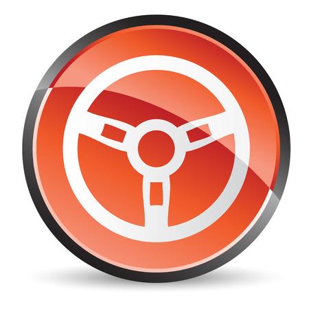 ikony koła kierownicy w kolorze czerwonym o shine
