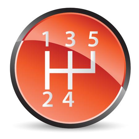 Stick-shift pictogram in rode tinten met bright