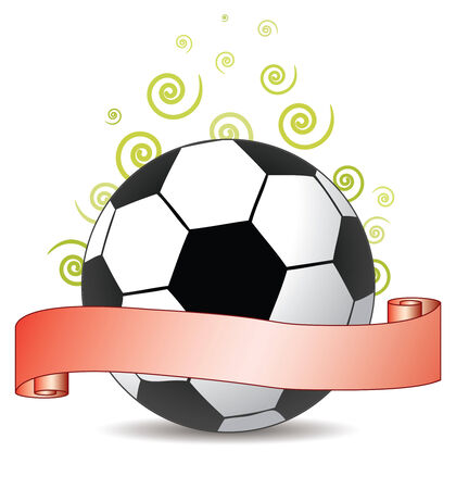 ribbon: soccer ribbon with green curls in the air