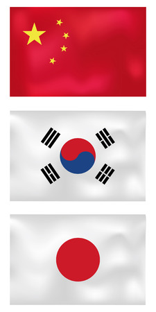 set of three asian wave flags, china, korea, japan