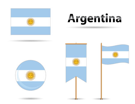 set of four argentinian flags for any use
