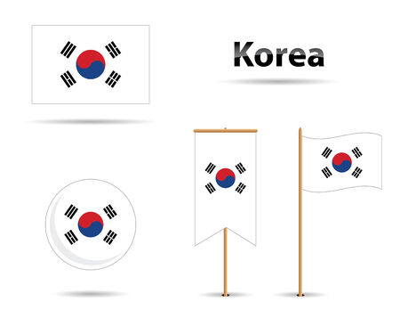 set of four korean flags and name in shadow style Vector