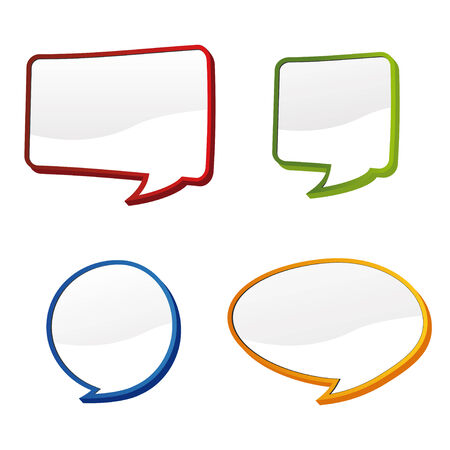 discussion forum: set of four 3d speech bubbles