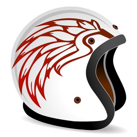 casco rojo: casco de raza de Vintage con alas de fuego en el lado  Vectores