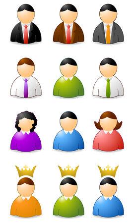 set of user icons, woman an men Vector
