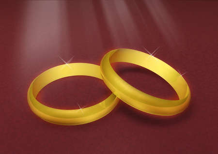 wedding rings in red velvet with brigths photo