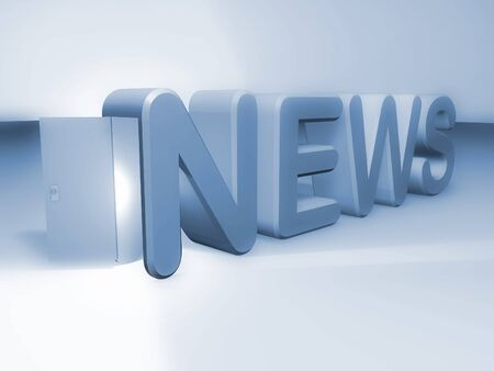 article icon: blue news text with open door for information society Stock Photo
