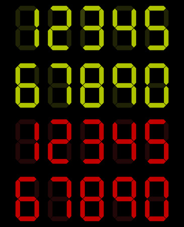 computer screen: set of digital numbers in green and red colors
