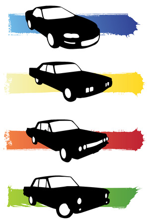 set of four grunge car silhouettes for decor Vector