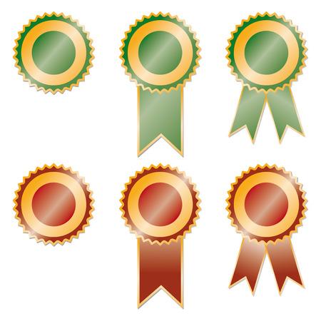 ribbons: set of red and green award ribbons Illustration