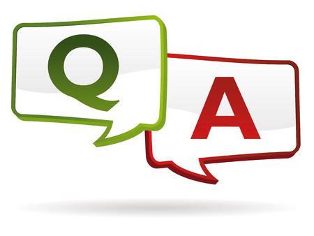pregunta respuesta chat ballons en colores  Ilustración de vector