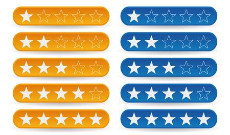 Satz von gelb und blau Bewertung Sterne