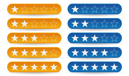 five stars: set of yellow and blue rating stars