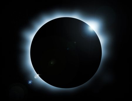 blue glow eclipse with stars in background Stock Photo - 7256273