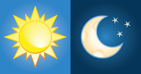 night and day: set of sun and moon, day and night