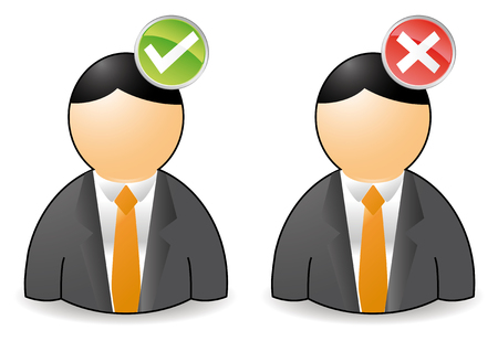 yes and no: set of two persons with ok or not ok buttons Illustration