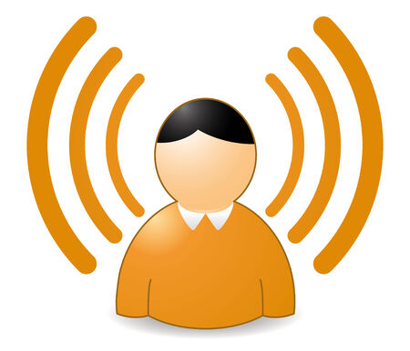 wireless: rss or wireless person in orange colors Illustration