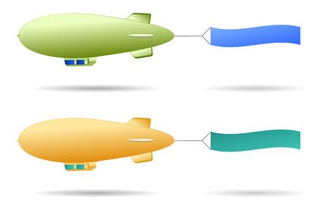 blimp: Conjunto de dos dirigibles retro con bandera de signo  Vectores