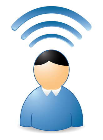 wireless: wireless man with blue waves over head