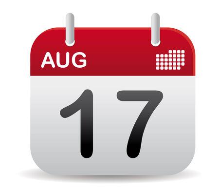 august calendar: calendario de agosto rojo stand up  Vectores