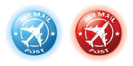 blauwe en rode lucht post zegels  Stock Illustratie