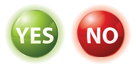 yes or no: set of two ball icons with yes and not words