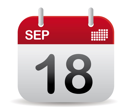 calendar page: september calendar in red stand up