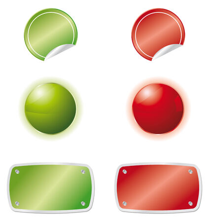 set of three web elements in green and red colors Stock Vector - 7657917