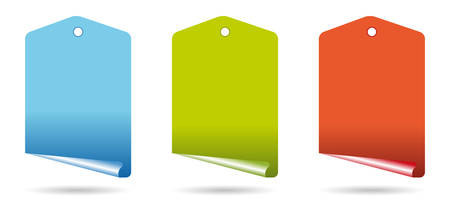 set of three curl tags in colors Vector