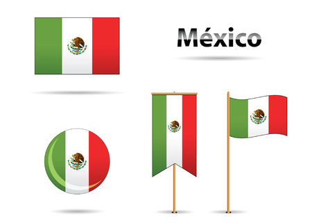 set of mexican flags in bicentenal aniversary Vector