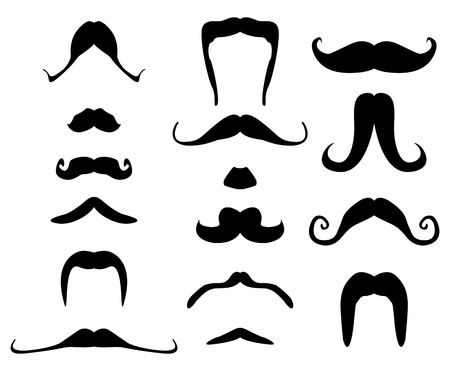 variations set: set of beards and mustaches for fun Illustration