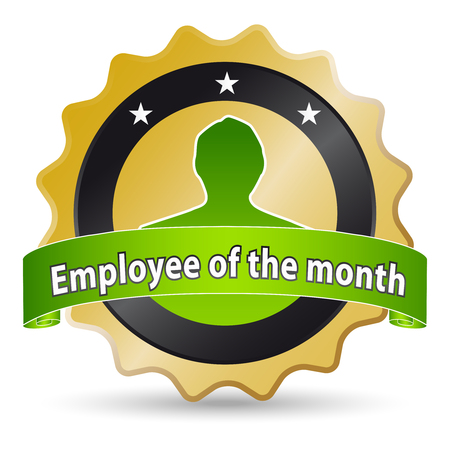 golden ribbon for the employee of the month Vector