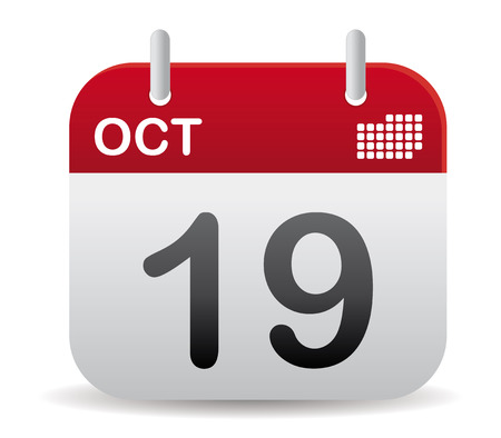 reminder icon: october calendar stand up in red