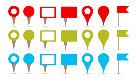 map pins in colors, red, green and blue