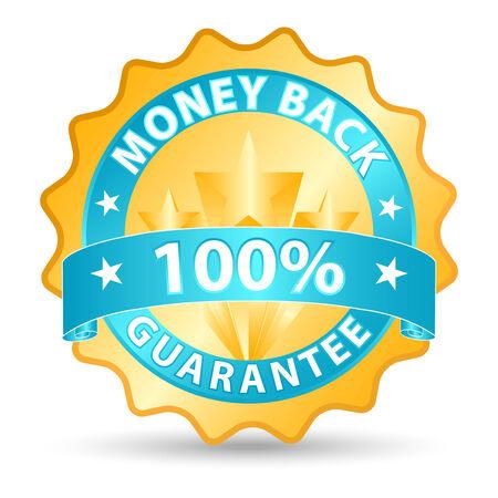 guarantee seal: devoluci�n de dinero de la cinta en tonos azules y oro  Vectores