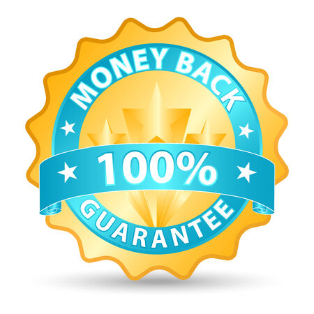 money back ribbon in blue and gold tones