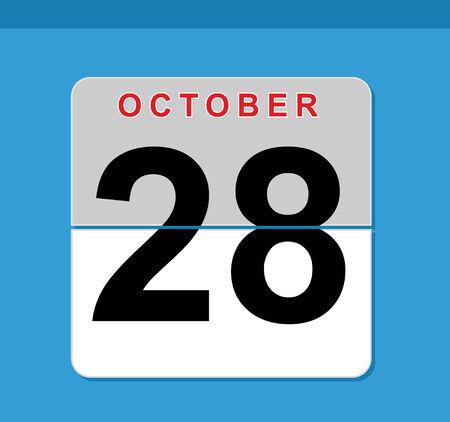 october counter calendar in blue background