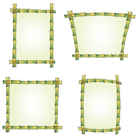 feuille de bambou: ensemble de quatre cadres de bambou de signes  Illustration
